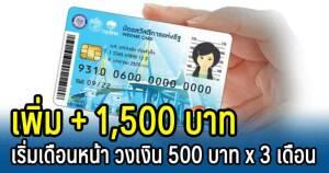 เพิ่มวงเงินในบัตรสวัสดิการแห่งรัฐ 500 บาท นาน 3 เดือน